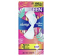 Always Radiant Teen Pads Regular With Wings Unscented - 28 CT
