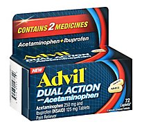 Advil Dual Action Pain Reliever With Acetaminophen - 72 Count