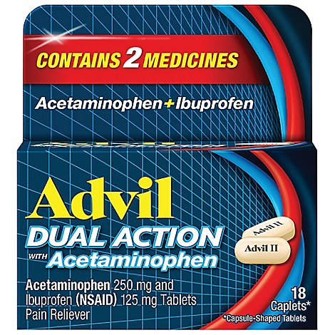 Advil Dual Action Pain Reliever With Acetaminophen - 18 Count