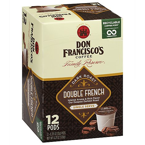 Don Franciscos Family Reserve Double French Single Serve Coffee - 12 CT