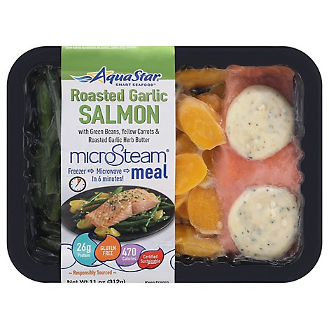Aqua Star Roasted Garlic Salmon Microsteam Meal - 11 OZ