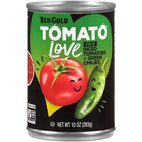 Red Gold Tomatoes Diced Petite And Green Chilies Mild - 10 OZ