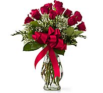 Debi Lilly Unforgettable Dozen Rose Arrangement With Vase - Each (flower colors and vase will vary)