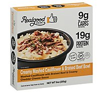 Realgood Creamy Mashed Cauliflower & Braised Beef Bowl - 9 OZ