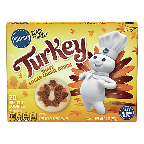Pillsbury Ready To Bake Turkey Shape Sugar Cookie Dough - 9.1 OZ