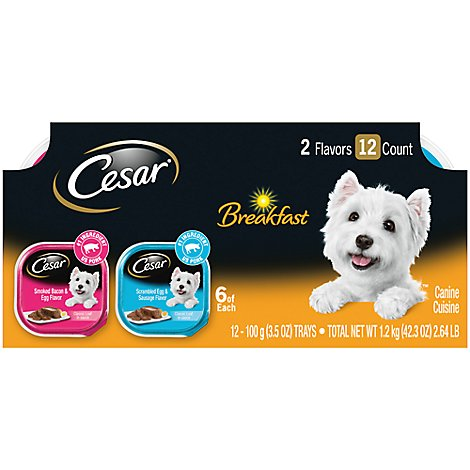 CESAR Dog Food Soft Wet Classic Loaf In Sauce Breakfast Variety Pack Easy Peel Tray - 12-3.5 Oz