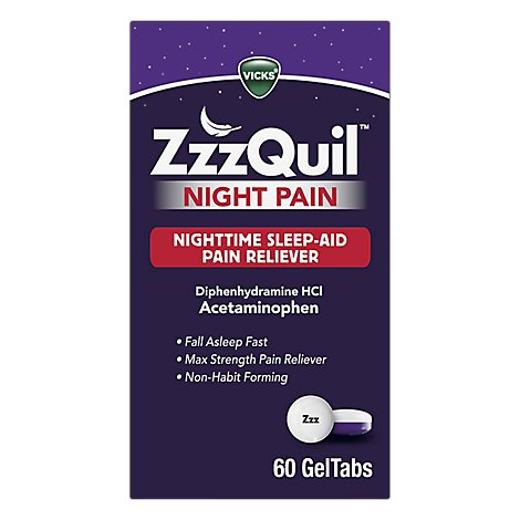Vicks Zzzquil Night Pain Sleep Aid Gel Tabs - 60 CT