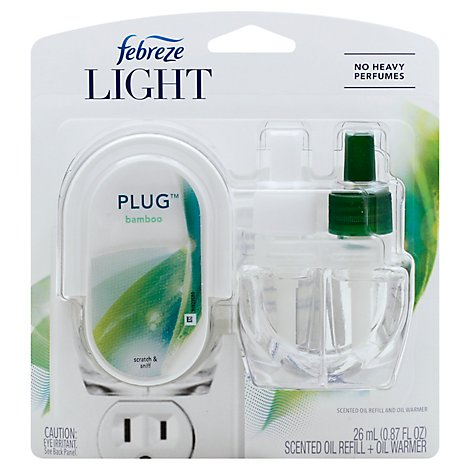 Febreze Light Plug Air Freshener Scented Oil Refill + Oil Warmer Bamboo Scent - Each