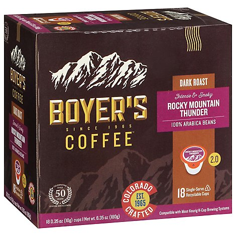 Boyer Rocky Mountain Thunder Dark Roast Single Serve Cup Coffee - 18 CT