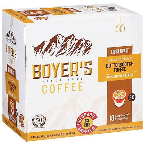 Boyer Butterscotch Toffee Light Roast Single Serve Cup Coffee - 18 CT