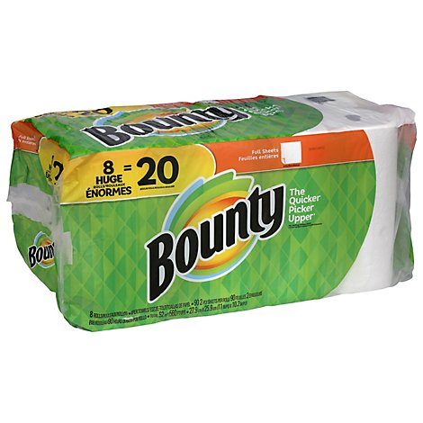 Bounty White Full Sheet Paper Towels - 8 RL