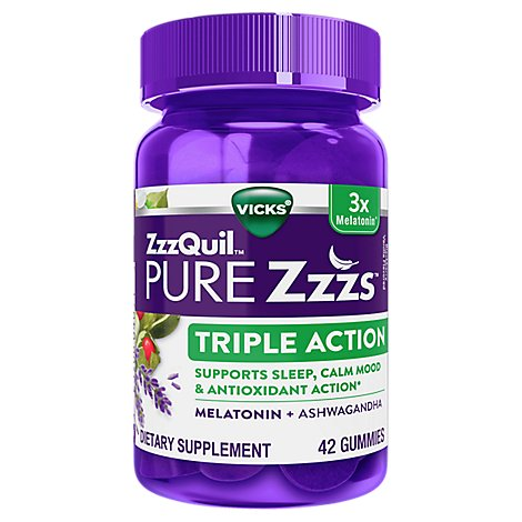 Vicks Zzzquil Pure Zzzs Triple Action Gummies - 42 CT