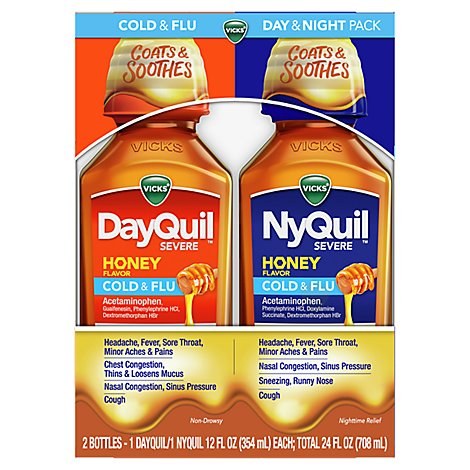 Vicks Dayquil Nyquil Severe Cold & Flu Multi Symptom - 2-12 FZ