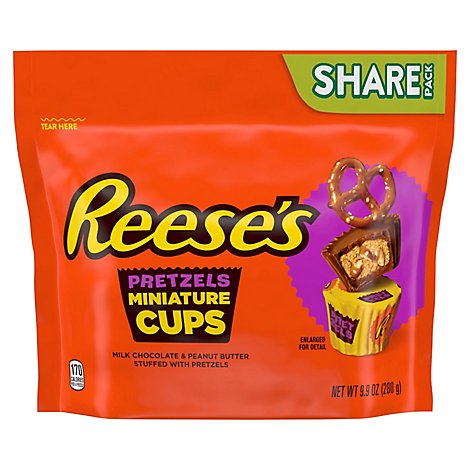 Reeses Milk Chocolate Peanut Butter Cup Miniatures Stuffed With Pretzels St - EA