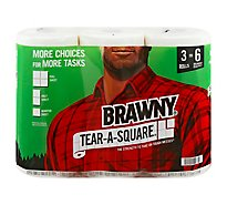 Brawny Paper Towels White Tear A Square Sheets 3 Extra Large Rolls - 3 RL