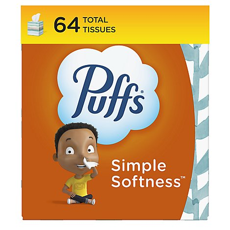 Puffs Basic 1x Cube Facial Tissue - 64 CT