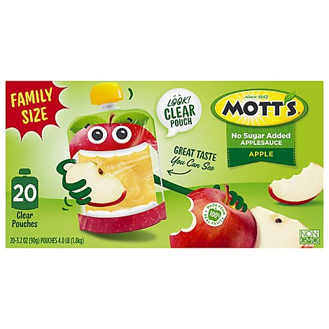 Motts Apple Sauce Unsweetened Pouch - 20-3.2 OZ