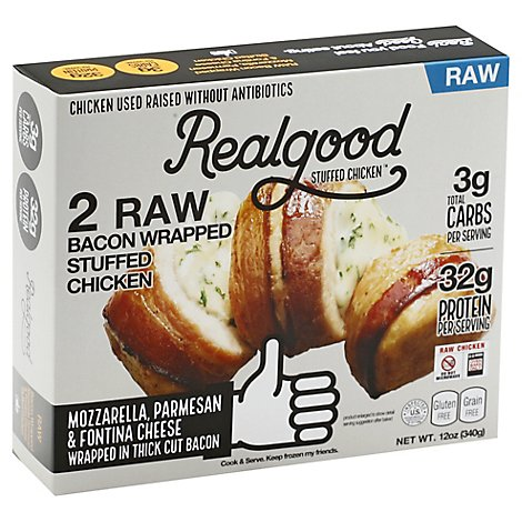 Realgood Chicken Bacon Wrapped Three Cheese - 12 OZ