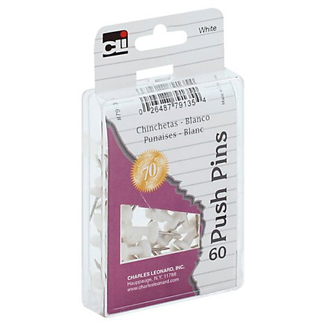Push Pins White - 60 CT