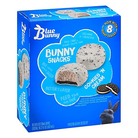 Blue Bunny Bunny Snacks Cookies N Cream 8pk - 19.2 FZ