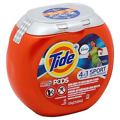 Tide Plus PODS Liquid Laundry Detergent Pacs Febreze Sport Odor Defense Active Fresh - 43 Count