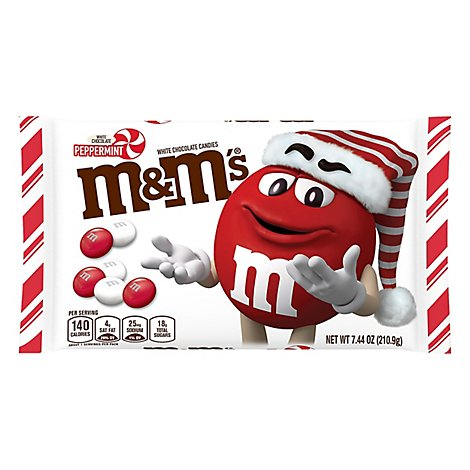 M&Ms Chocolate Candies Chrismas Holiday White Chocolate Peppermint - 7.44 Oz