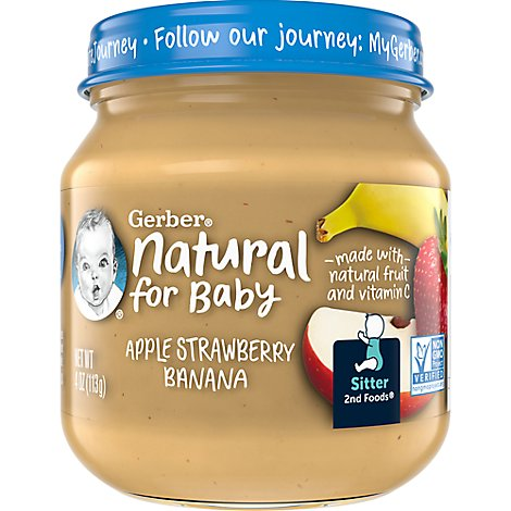 Gerber 2nd Foods Natural Baby Food Apple Strawberry Banana - 4 OZ