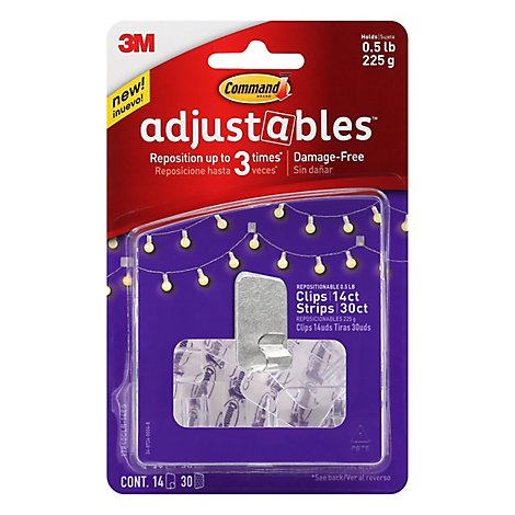 3m Command Adjustables Clips - 14 CT