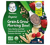 Gerber Morning Bowl Banana Mixed Berry Infant Cereal Organic - 4.5 OZ