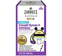 Zarbees Naturals Baby Cough Syrup Immune Agave & Elderberry - 2 Fl. Oz.