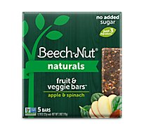 Beech-Nut Toddler Snack Fruit & Veggie Bars Stage 4 Apple & Spinach 5 Count - 3.9 Oz