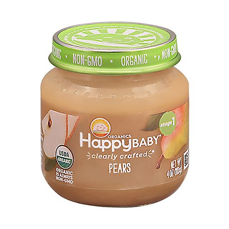 Happy Baby Organic Stage 1 Cc Pears Jar - 4 OZ