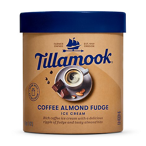 Tillamook Ice Cream Coffee Almond Fudgem - 48 OZT