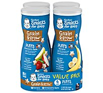 Gerber Puffs Banana/strawberry Apple Cereal Snack Variety - 4-1.48 OZ