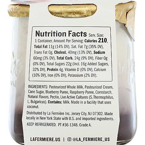 La Fermiere French Yogurt Rspbry Blbry - 5.6 OZ