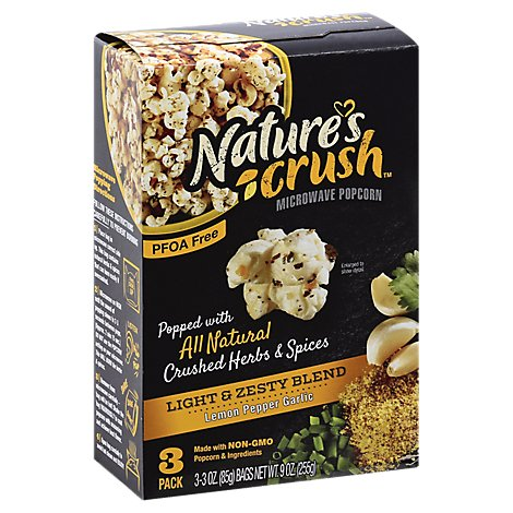 Natures Crush Popcorn Light And Zesty - 9 OZ