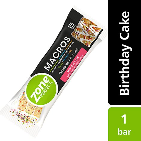 Zoneperfect Macros Birthday Cake Bar - 1.76 OZ