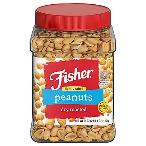 Fisher Dry Rstd Peanuts Low Salt - 36 OZ