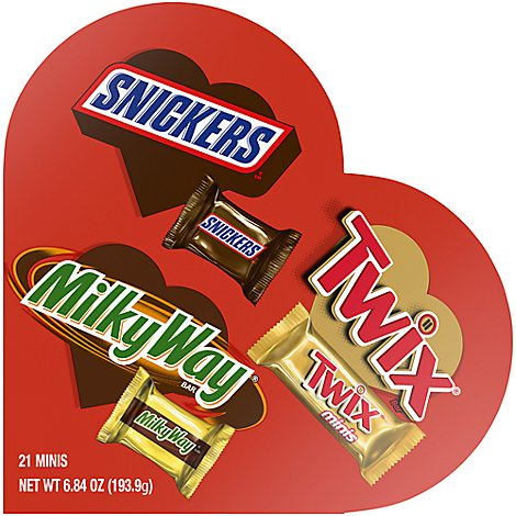 Mars Candy Snickers Twix & Milky Way Minis Valentine Heart Gift Box - 6.84 Oz