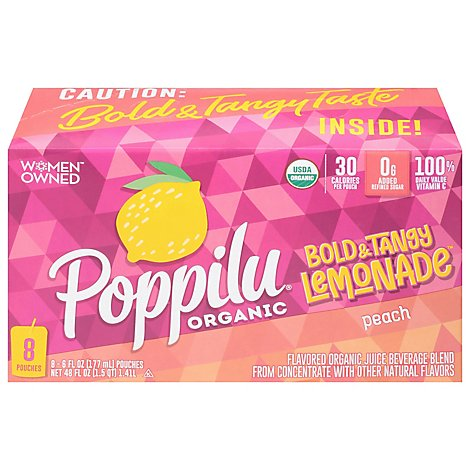 Poppilu Peach Lemonade Kids Pouch 8ct - 48 FZ