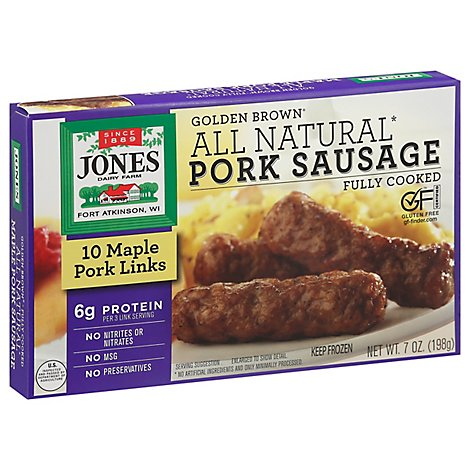 Jones Sausage Golden Brown All Ntrl Pork Links - 7 OZ