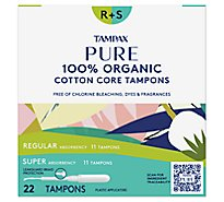 Tampax Pure Tampons 100% Organic Regular/Super Unscented - 22 Count