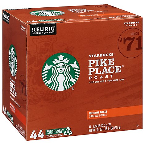 Starbucks Medium Pike Place Roast Kcup Coffee - 44 CT