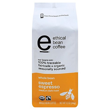 Ethical Bean Medium Dark Roast Whole Bean Espresso Coffee - 12 OZ