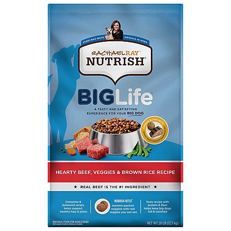 Rachel Ray Nutrish 28 Pound Big Life Hearty Beef, Veggie And Brown Rice - 28 LB