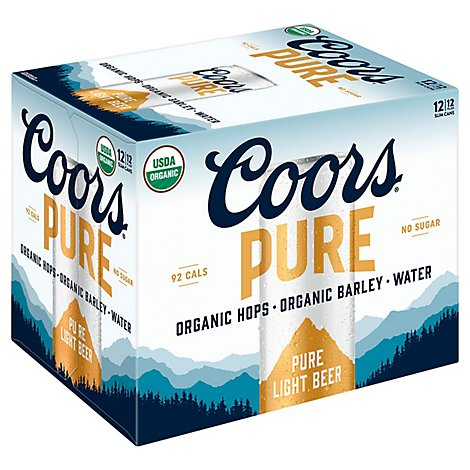 Coors Pure Organic Light Beer American Light Lager 3.8% ABV Cans 12-12 Fl. Oz.