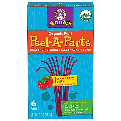 Annies Organic Strawberry Splits Peel-a-part Fruit Strings 6 Count - 3.3 OZ