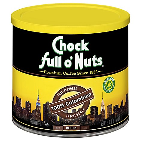 Chock Full O Nuts 100% Columbian Ground Coffee Canister - 24 OZ