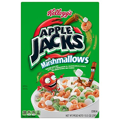 Kelloggs Apple Jacks Marshmallow Cereal - 10.5 OZ