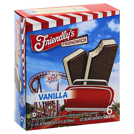 Friendlys Vanilla Friendwich - 24 FZ